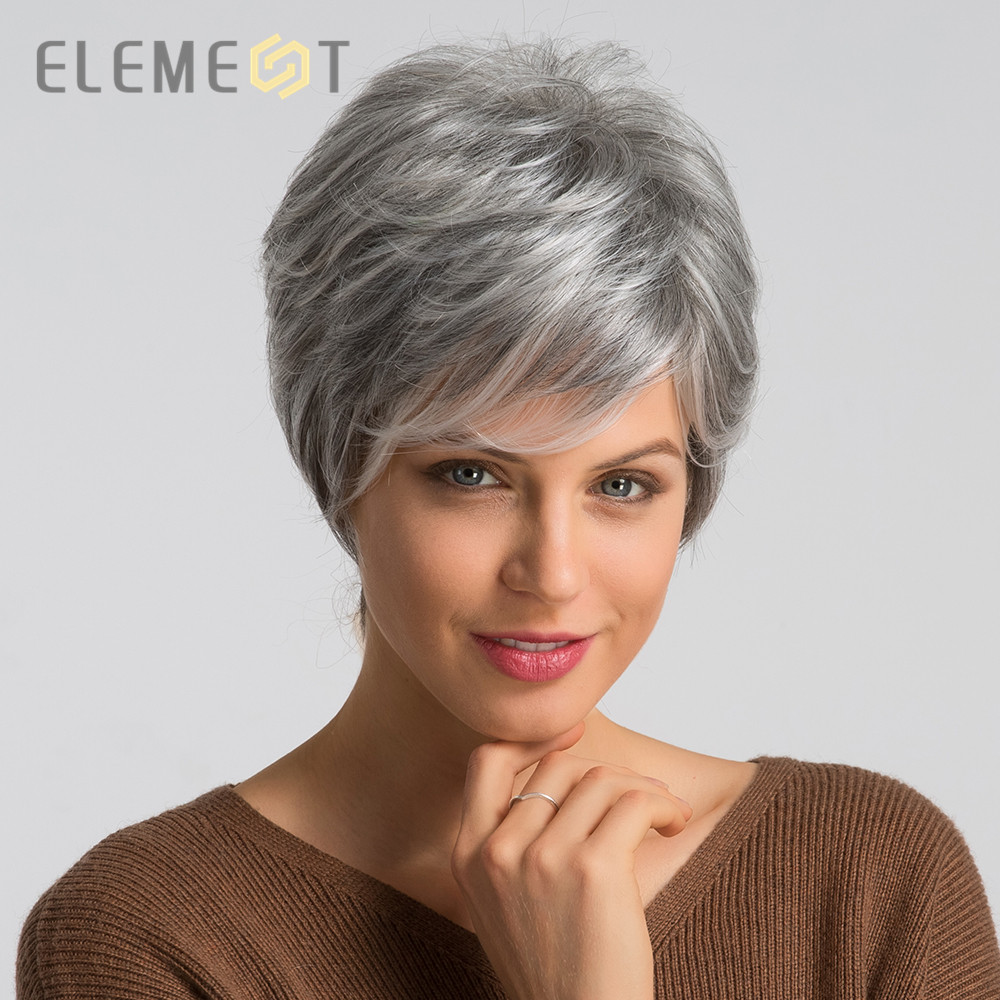 Element 6 Inch Synthetic Gray Short Hair Wig Blend 50% Human Hair Left Side Parting Pixie Cut Wigs For Women Free Shipping