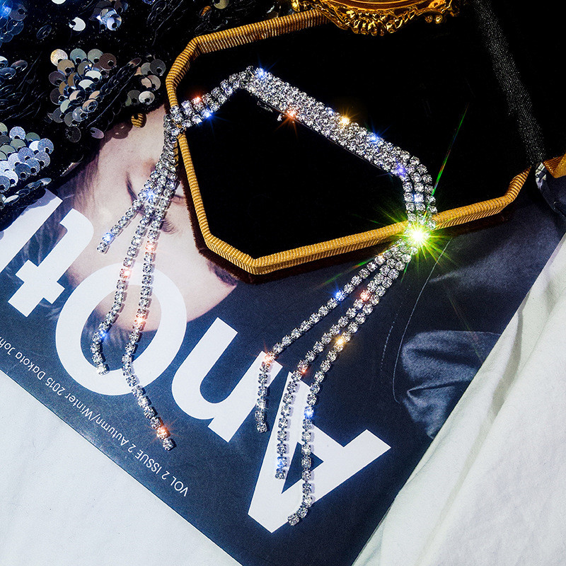 FYUAN Korea Style Shiny Full Rhinestone Hairpins for Women Bijoux Silver Color Long Tassel Crystal Wedding Hair Accessories Gift