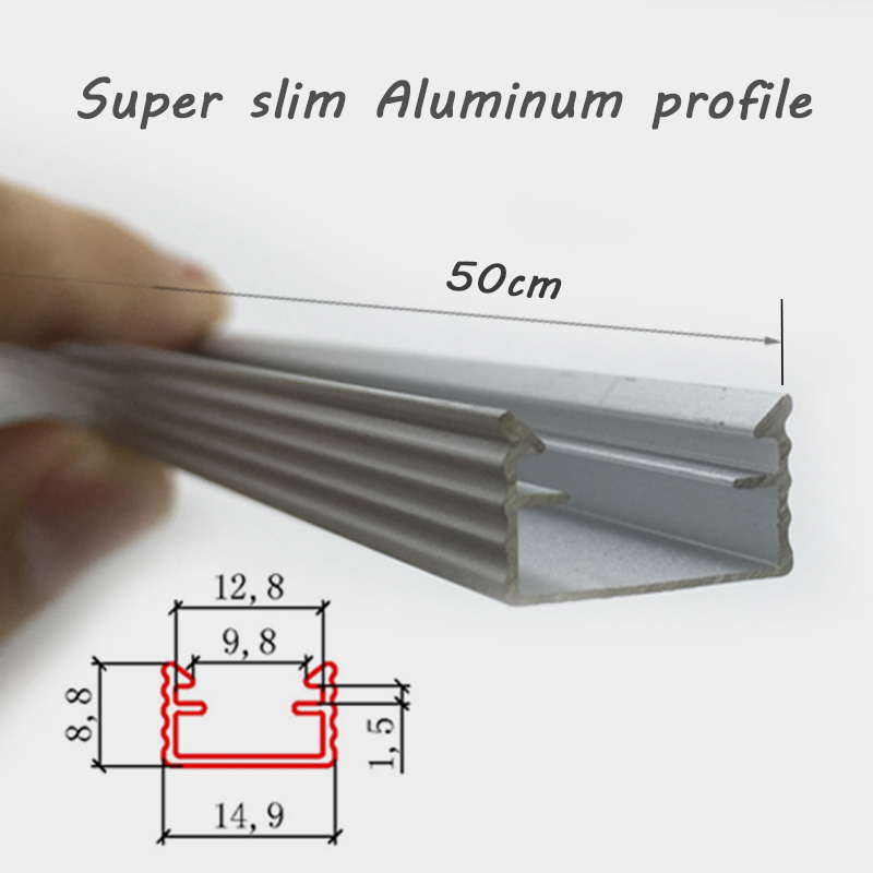 20pcs*50cm U type Slim LED aluminum profile for led bar light wardrobe light counter light
