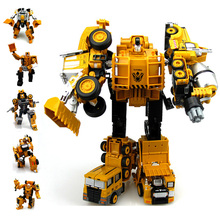 Robot Transformación caliente Diecast Camión 5 en 1 Robot Figuras de Acción Clásico Juguetes de Metal de Aleación de Juguetes Para Niños de Regalo de Navidad
