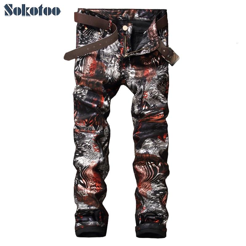 Sokotoo Men s fashion slim 3D print PU pants Casual painted long trousers