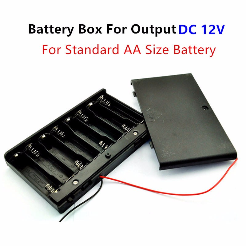 low priced c22d9 85400 12 Volt battery Holder 8pcs AA Battery Box Case With ON / OFF power switch  wire lead For Output DC 12V-in Battery Storage Boxes from Consumer ...