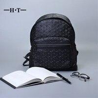 Ht مان حقائب جلد طبيعي حقيبة الكتف أكياس daypack حقيبة كبيرة خمر نمط ستار نمط المدرسية السوداء الذكور