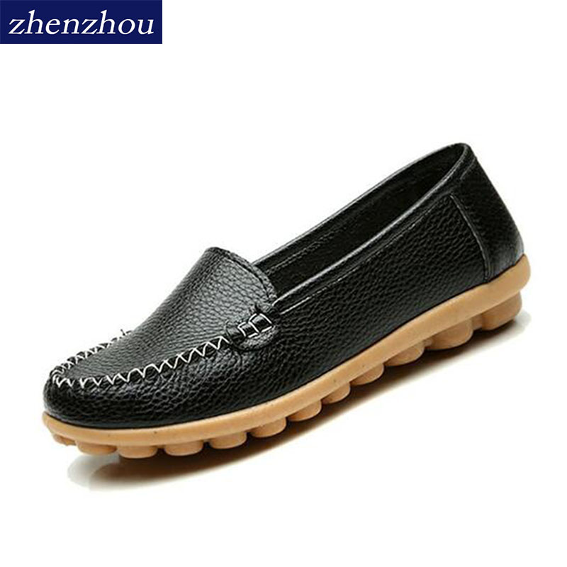 2017 Flats Spring and mom's shoes Doug shoes Female middle aged large size round head antiskid nurse shoe little white shoe lady the new spring and summer ms south korea ensure their boots comfortable show female water thin antiskid tall canister shoe