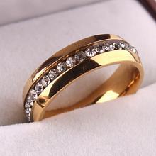Однорядные циркон cz Нержавеющей Стали 316L палец кольцо GP ювелирные изделия размер 16 17 18 19 20 мм оптовая 589 ювелирные изделия