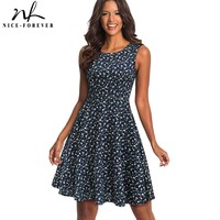 Nice Forever Retro 1950 S Floral Printed Round Neck Vestidos Sleeveless A Line Female Flare Party