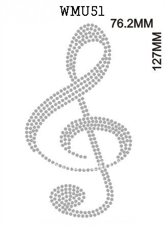 Rhinestone transfer motifs,music related design# WMU51