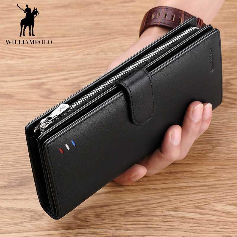 WILLIAMPOLO Genuine Leather Long Wallet For Men Black Fashio