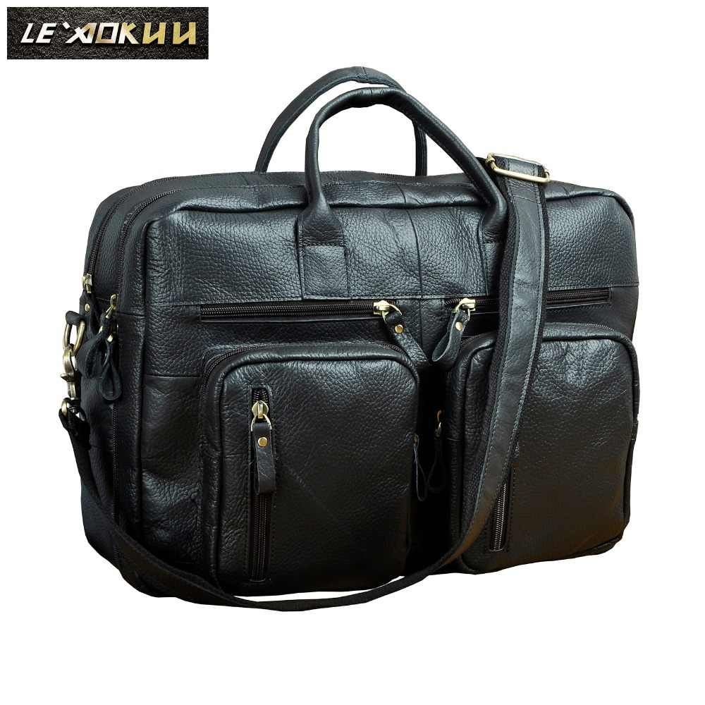 168d35663af1 Мужская кожаная сумка под старину, деловой портфель для путешествий, сумка  для ноутбука, черная