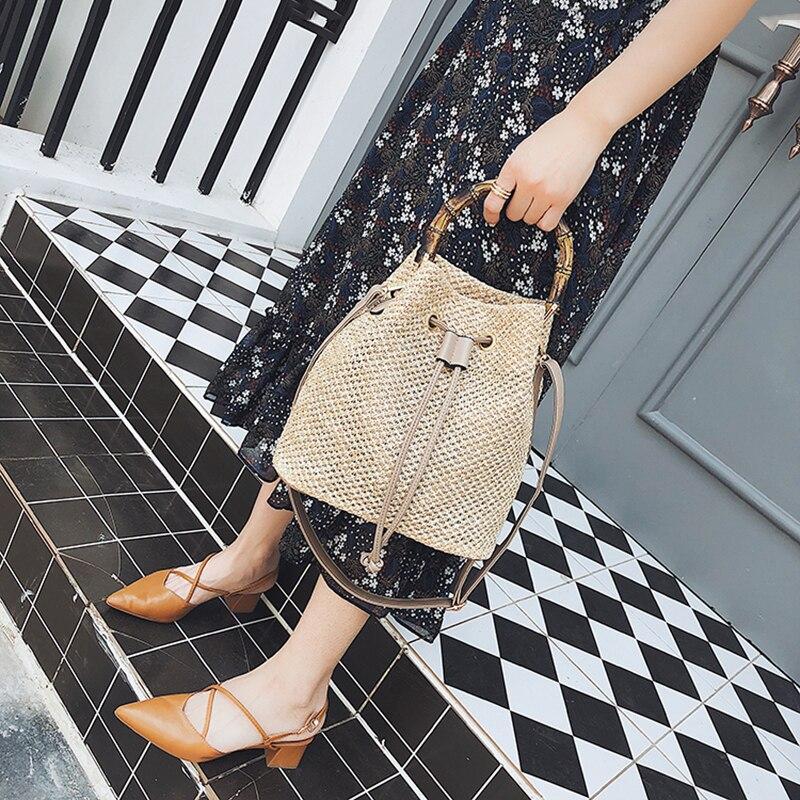 Sznurek damski słomy torebka wiadro lato tkane torby na ramię torebka na zakupy torebka plażowa torebki słomiane torba podróżna