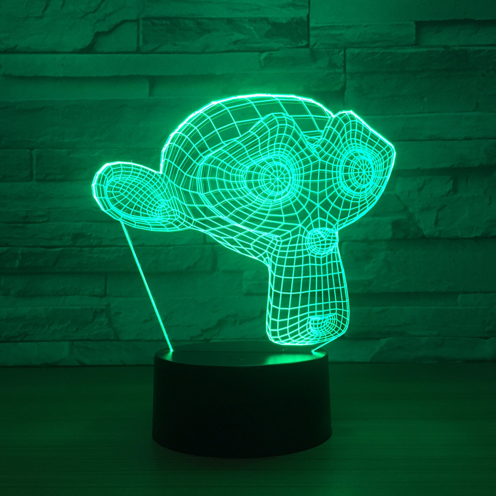 Monkey mask 3D night light 7 color touch LED visual atmosphere gifts desk lamp <font><b>1250</b></font> image