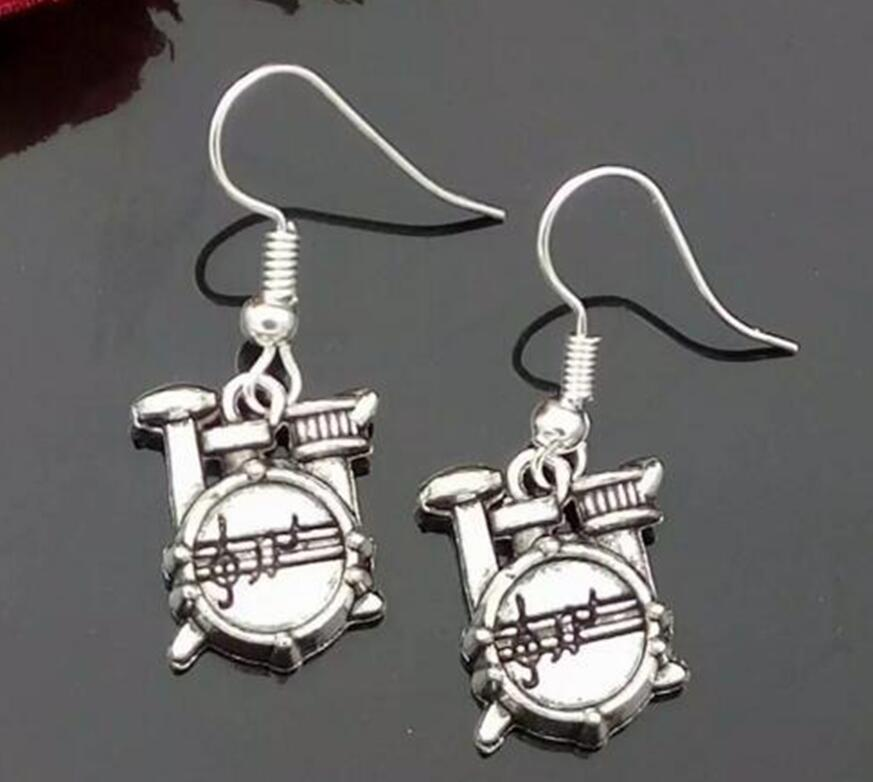 50 Pair Wholesale Orchestra Gifts Fashion Jewelry Vintage Silver Drum Set  Charm Dangle Earrings Birthday Present For women 22746fce9