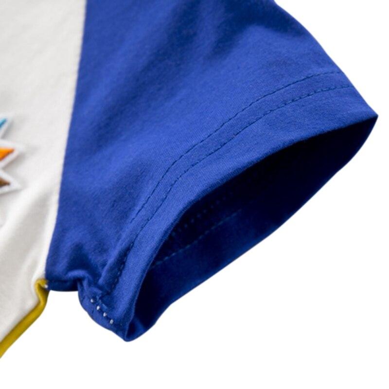 NewMandarin Colarinho Amarelo/Azul Bebê Verão Meninos Listrada de Manga Curta Carta De Impressão Tops Blusa T shirt + Shorts conjuntos de Roupas casuais - 5