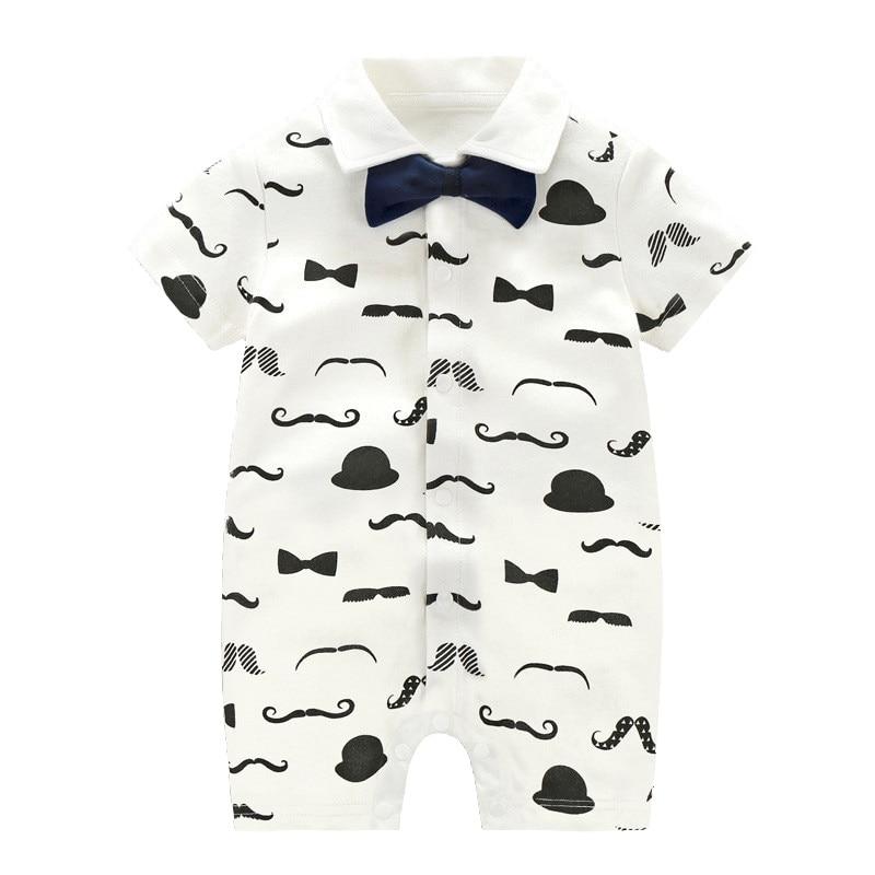 2019 Summer Baby Gentleman Short Sleeved Boys   Romper   Cotton Newborn Body Suit Infant Baby Pajama Boys Clothes