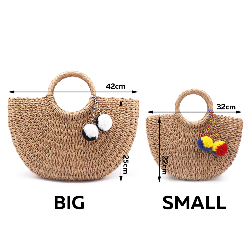 b1f7a1cc6e 2018 New Summer Handmade Bags Women Pompon Beach Weaving Ladies Straw Bag  Wrapped Beach Bag Moon shaped Bag-in Top-Handle Bags from Luggage   Bags on  ...