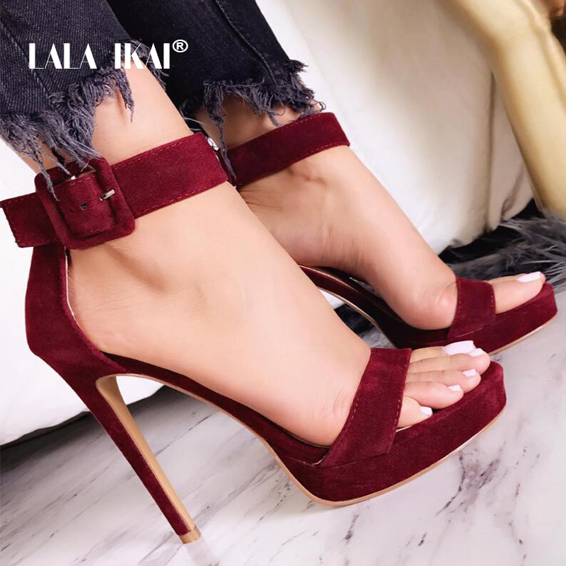 LALA IKAI Women Sandals Sexy High Heel Elegant Flock Platform Buckle Strap Open Toe Pumps Party Shoes Wedding Shoes 014C1339 -49 cocoafoal woman pointed toe pumps pink black brown fashion sexy high heels shoes snakeskin genuine leather career pumps 2017