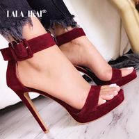 LALA IKAI Women Sandals Sexy High Heel Elegant Flock Platform Buckle Strap Open Toe Pumps Party Shoes Wedding Shoes 014C1339 49