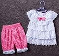 2016 Летом Новорожденных Девочек Одежда 2 Шт. Установить Короткий Рукав Блузка Горошек Брюки Хлопок Милый Ребенок Одежда Детей Набор для Новорожденных
