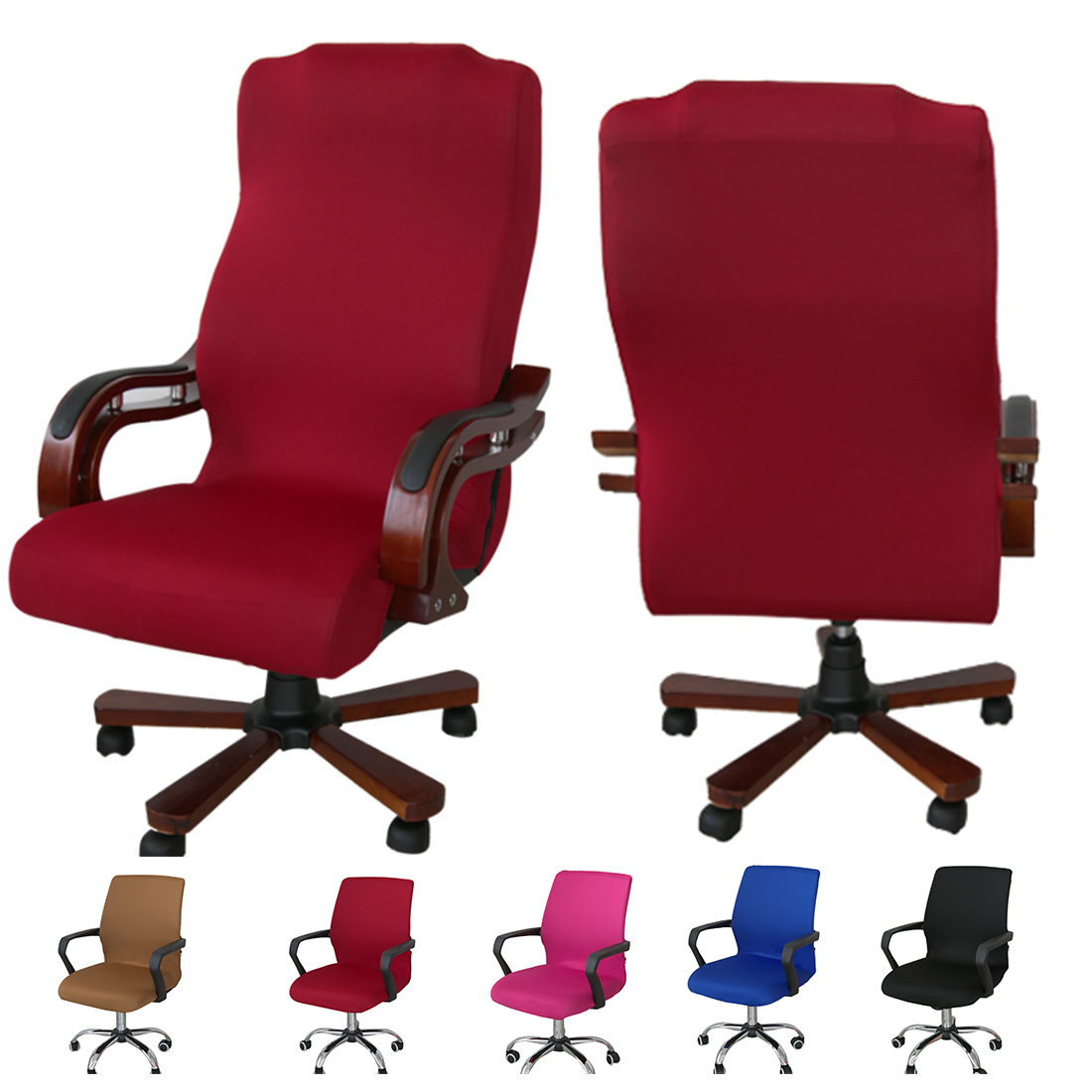 Solid Color Chair Cover Computer Office Elastic Armchair ...