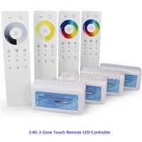 2.4G 3 Zone Remote Touch dimmer Ricevitore Singolo Colore/Temperatura di Colore/RGB/RGBW/RGB CCT LED di controllo della striscia Set DC12V-24V
