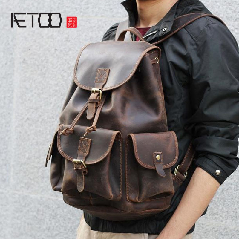 AETOO Crazy horse skin large capacity shoulder bag male imports the first layer of leather handmade backpack female travel bag aetoo retro shoulder bag genuine handmade men women casual travel backpack large capacity first layer leather