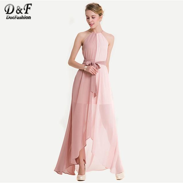 b3a4670f2e83 Dotfashion Two Tone Dip Hem Chiffon Dress With Weave Strap Summer Halter  Sleeveless Maxi Dress Women Pink Party Slit Dress