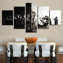 Wall Art Canvas Print Painting Home Decor 5 Pcs Shooting Video Game Tom Clancy'S Rainbow Six Siege Pictures Modular Frame Poster(China)
