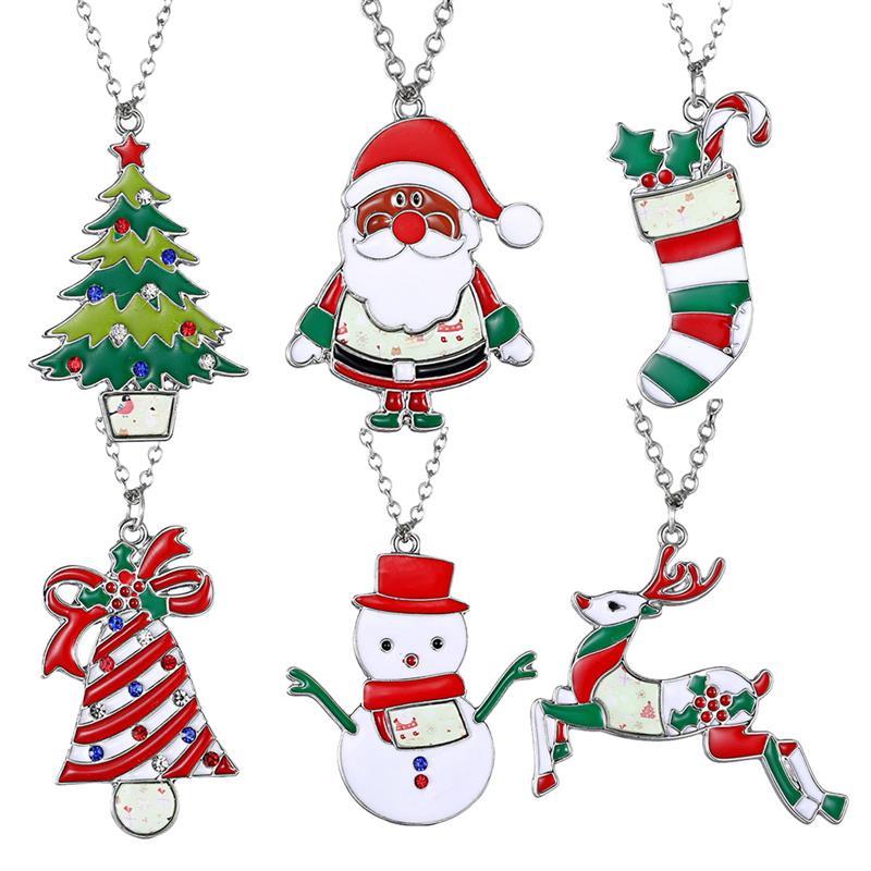 6Pcs Christmas Gift Necklace Party Favors Cartoon Santa ...