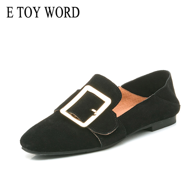 E TOY WORD Genuine Leather square buckle Woman Flats Slip-On Thick heel Loafers Shoes Solid Comfortable Casual Women's Shoes