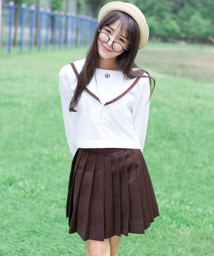 2 Color Japanese Classical Long-sleeved Sailor Uniforms White Collar Japan High School Uniform <font><b>Cosplay</b></font> <font><b>Sexy</b></font> <font><b>Cute</b></font> Girl image
