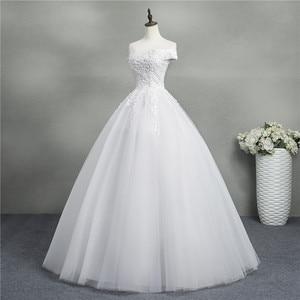 Image 3 - ZJ9145 2019 yeni Beyaz Fildişi Zarif Balo Elbisesi Kapalı Omuz Gelinlik gelinler için Dantel sevgiliye dantel kenar Artı boyutu