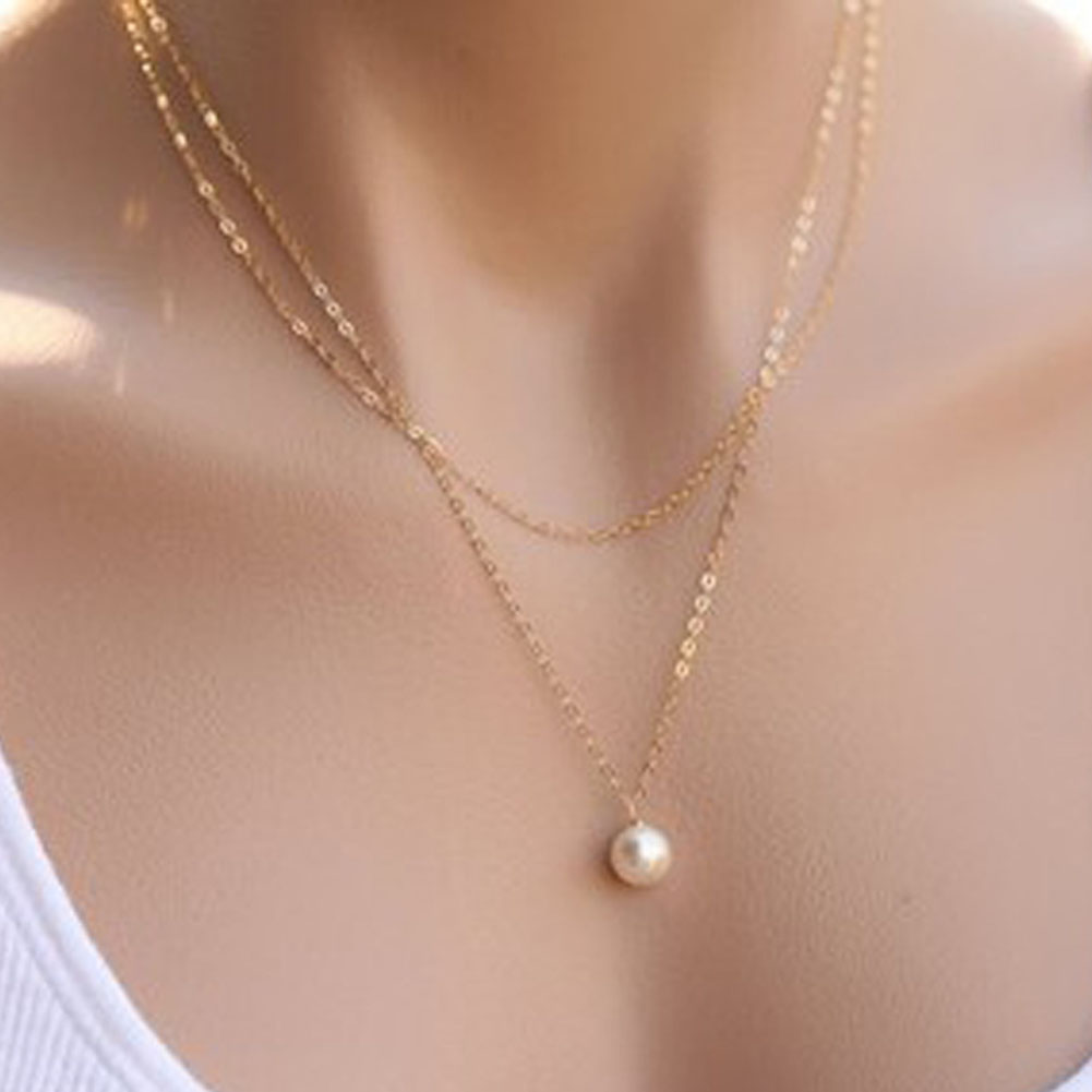 Fashion Trendy Single Simulated Pearl Necklace Women Jewelry Bijoux Gold  Silver Plated No Fade Jewelry(