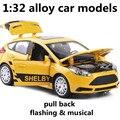 1:32 сплава модели автомобилей, высокая моделирования модели Ford Focus, toy транспорт, металл diecasts, отступить и мигать и музыкальные, бесплатная доставка