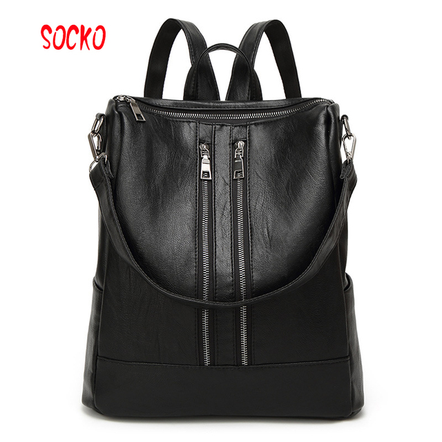 124a68418b 2017 Newest fashion high quality women travel backpack student schoolbag soft  PU Leather women casual backpack ZL39.6