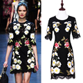 High Quality 2016 Summer And Autumn New Runway Heavy Fine Embroidery Slim Round Neck Sleeve Lace Dress Sexy Elegant Ladies