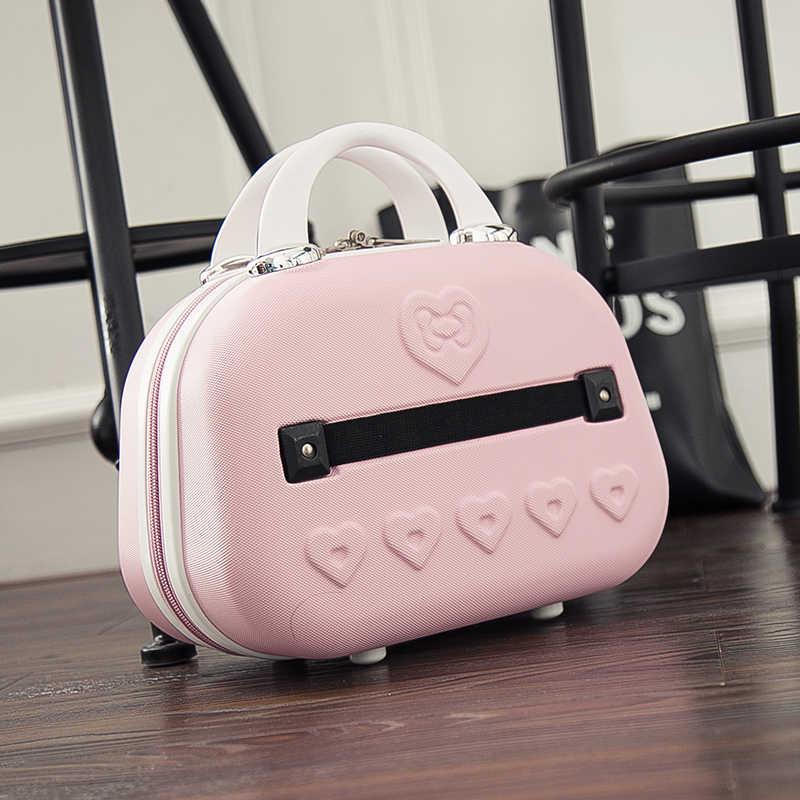091bfc6940 ... Hello Kitty Cosmetic Bag Cartoon Travel Suitcase Portable Women Handbag  Lovely Cosmetic Case makeup box Children s ...