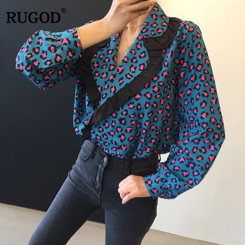 RUGOD Chic Leopard Shirt Korean Fashion Clothing Women Blouses Long Sleeve Turn-down Collar Harajuku Tunic Fashion Streetwear