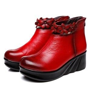 Image 5 - GKTINOO çizmeler kadın rahat sonbahar hakiki deri yarım çizmeler kadınlar için yumuşak takozlar platform ayakkabılar bayanlar