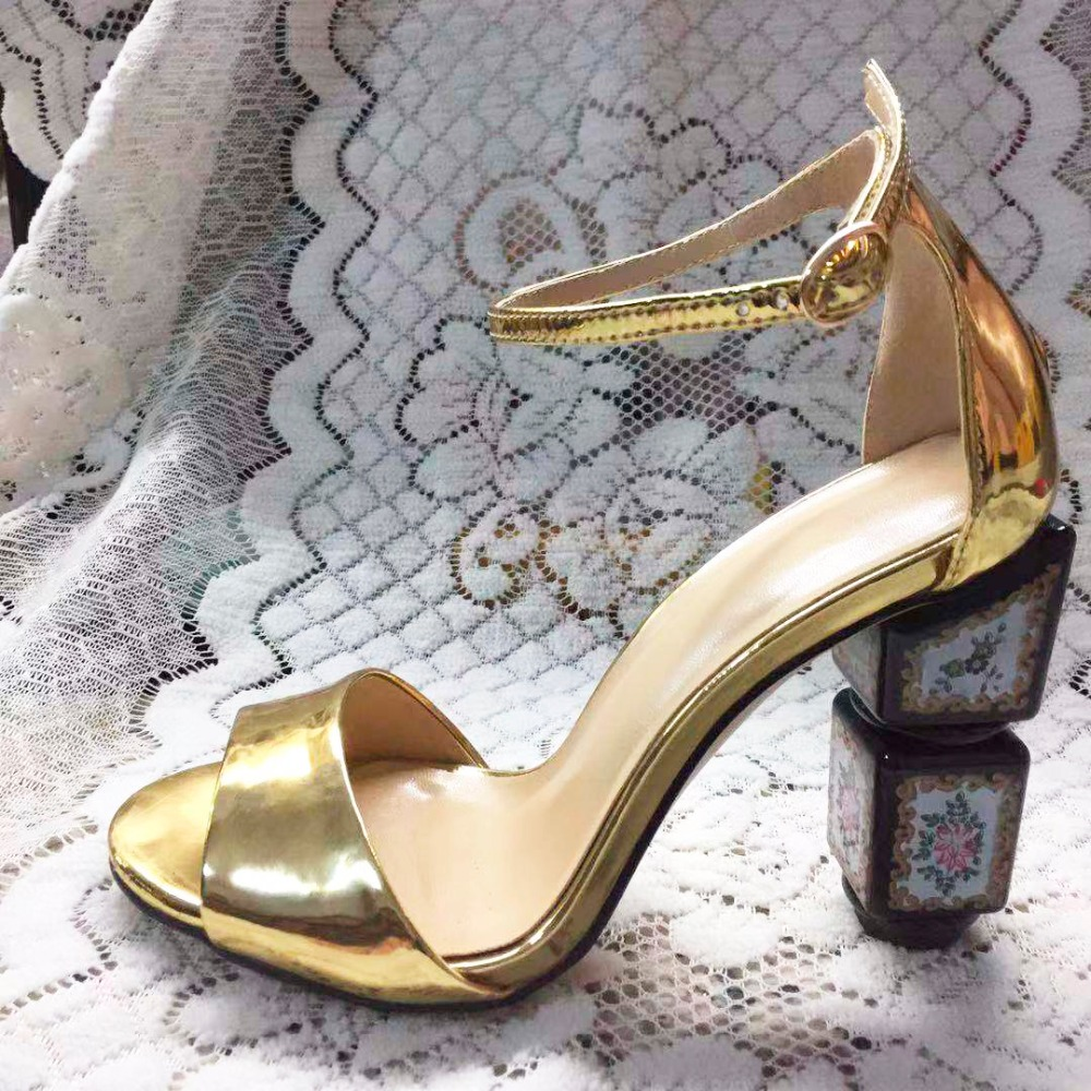 Carpaton Hot Selling Gold Leather Thick Heels Woman Sandal Sexy Peep Toe Ankle Strap Party Dress Heels Cutouts Summer Shoes