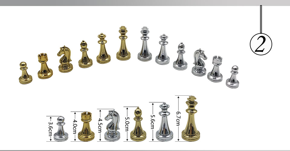 Easytoday Metal Glossy Golden And Silver Chess Pieces Solid Wooden Folding Chess Board High Grade Professional Chess Games Set (2)