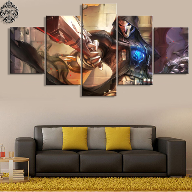 Canvas Painting Wall Art Printed 5 Panel Game Poster Overwatch Reaper Home  Decor For Living Room Part 53