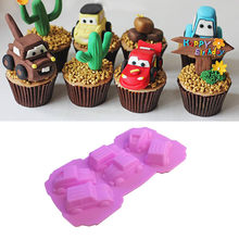 Sportwagen Silicone Mould Cake Chocolade Pan Fondant Siliconen Mallen Ijsblokjes Cake Decorating Moulds DIY Jelly Bakken Tools(China)