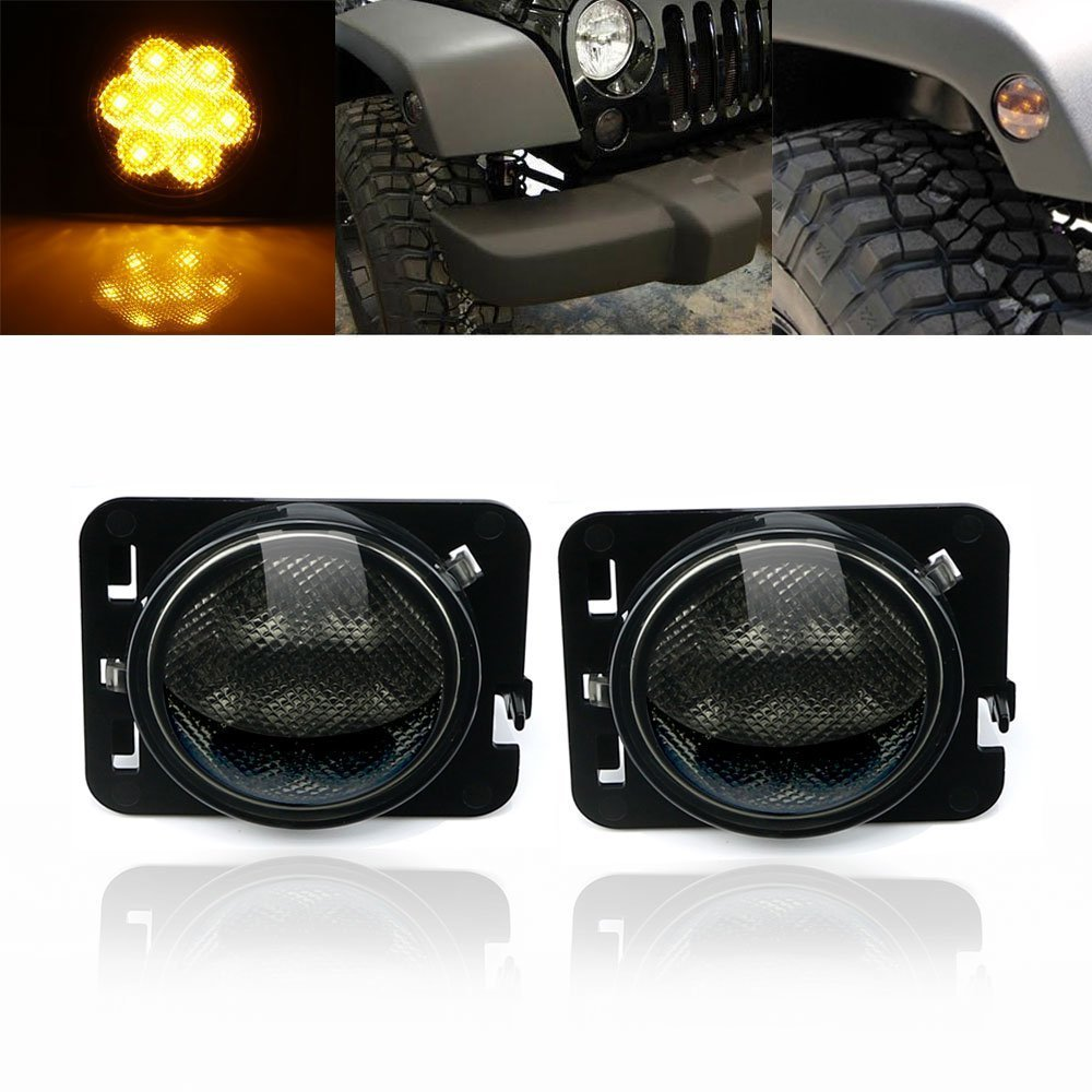 LED Side Maker Lights for Jeep Wrangler Amber Front Fender Flares Parking Turn Lamp Bulb Indicator Lens windshield pillar mount grab handles for jeep wrangler jk and jku unlimited solid mount grab textured steel bar front fits jeep