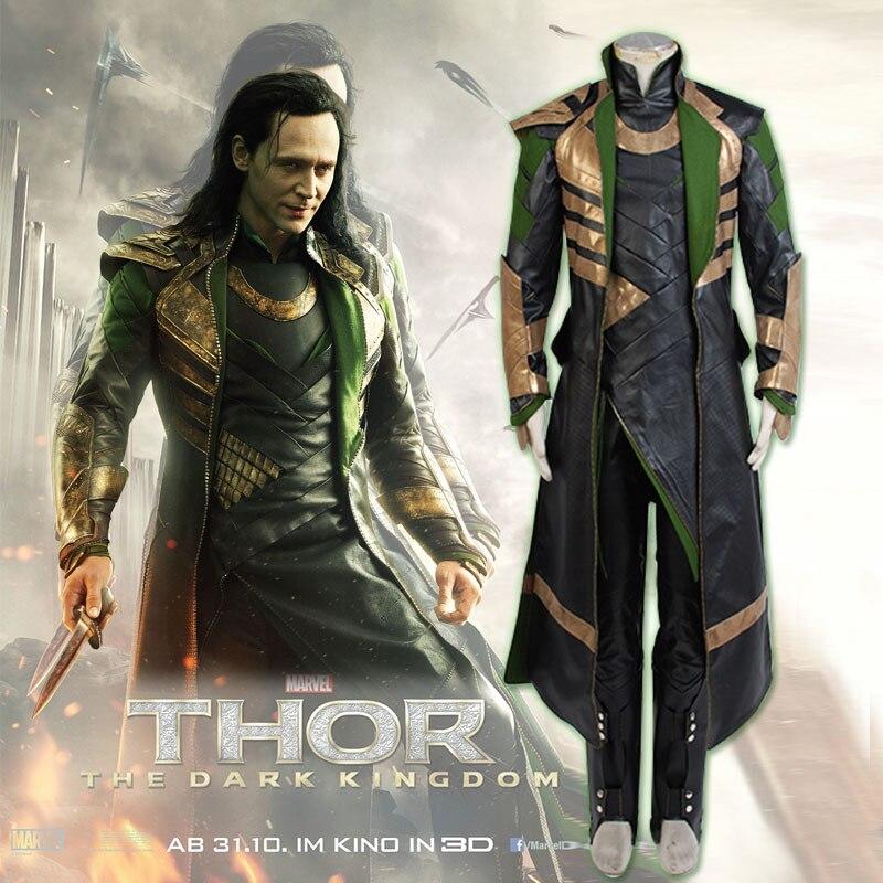 EU Size Movie Thor 2 Ragnarok Dark World Loki Cosplay Costume Adult Halloween Carnival Costume for Men Women Unifrom Set