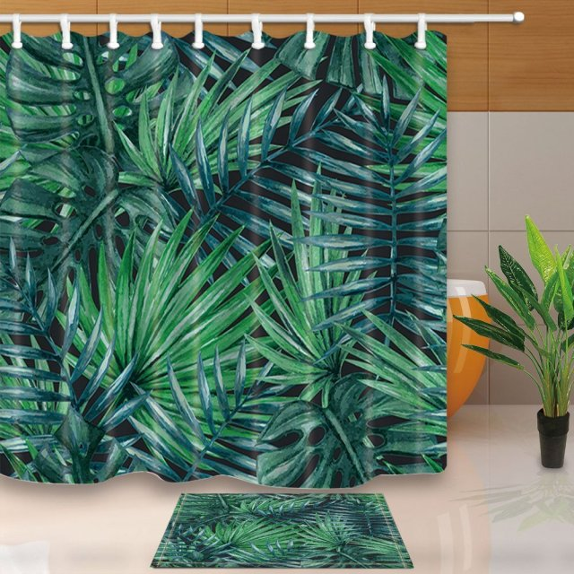 Tropical Plants Decor Dark Green Palm Tree 69X70in Mildew Resistant Polyester Fabric Shower Curtain