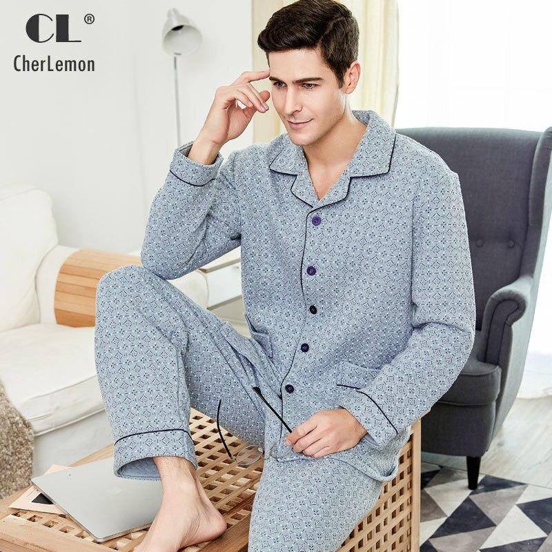 CherLemon Mens Thick Quilted Cotton Pajama Set Winter Male Full Sleeve Warm Sleepwear Leisure Plaid Homewear Large Size M-4XL