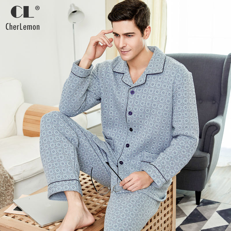 CherLemon Mens Thick Comfort Cotton Pajama Set Winter Male Full Sleeve Warm Sleepwear Leisure Stylish Plaid Homewear Large Size