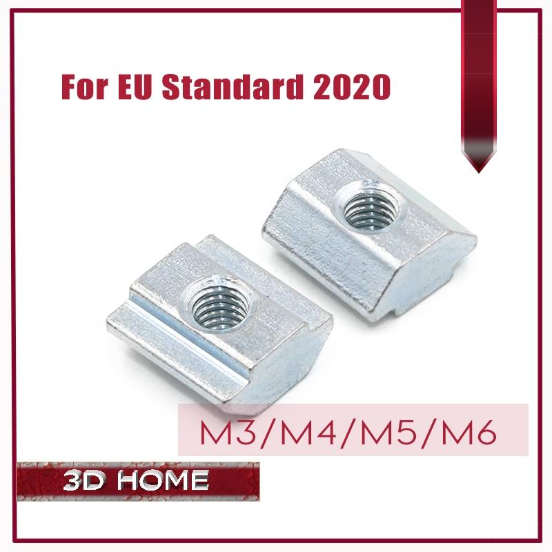 цена на 20PcsT Sliding Nut Block Square Nuts M3 M4 M5 M6 For 2020 Aluminum Profile Slot Zinc Coated Plate Aluminum For For EU Standard