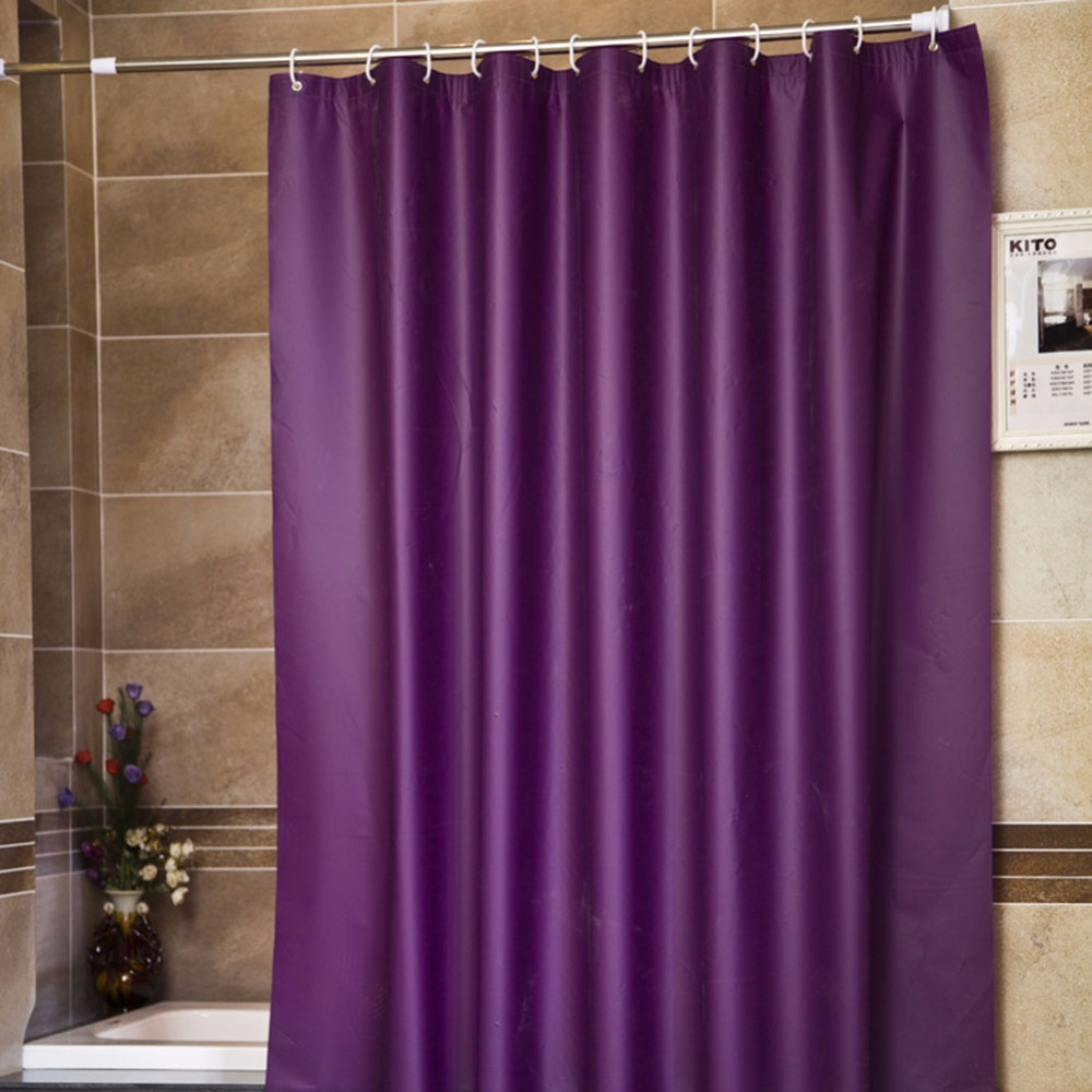 Solid teal shower curtain - Super Thick Solid Purple Color Waterproof Shower Curtain Liners Extra Long Mildew Resistant No Odors No