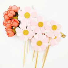 6pcs/set Pink Flower shape Wedding Birthday Cake Inserted Card with Toothpick Party Gift Cake Decoration for cupcake food eternal love wedding cake inserted card decoration